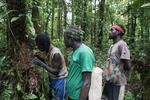 Skupina místních vlastníků lesa z rezervace Kagalalo se podílí na sběru vzorků hmyzu. Skupina místních vlastníků lesa z rezervace Kagalalo se podílí na sběru vzorků hmyzu.